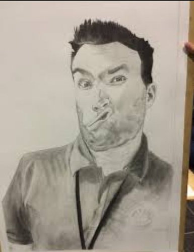 生徒が美術の課題で僕の絵を描いた01