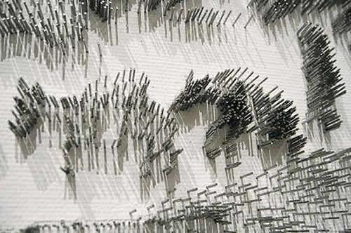 水墨画のような「釘」アート14