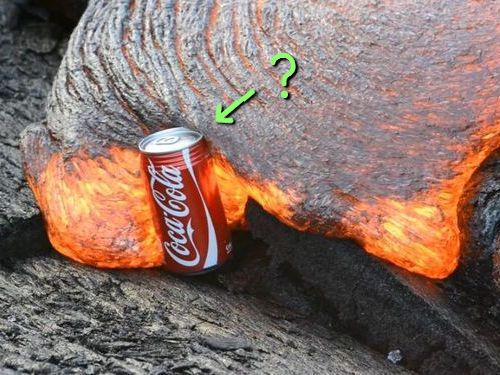 コカコーラと溶岩00 実験「コーラの缶が溶岩に飲み込まれたらどうなるの?」→「こうなる」(動画)