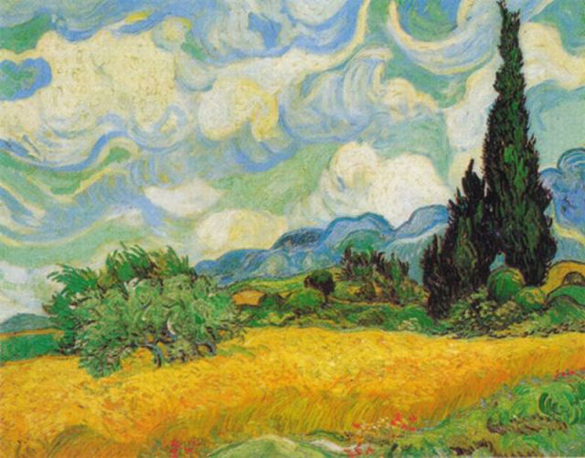 最も高額な絵画02 ヴィンセント ヴァン ゴッホ「糸杉のある麦畑」 1993年に落札:57...