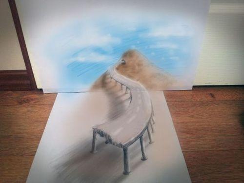 紙に描いた立体アート00