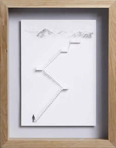 美しく繊細なペーパーアートの世界-山への階段