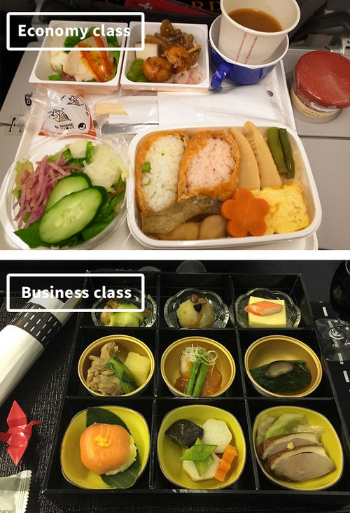 ファーストクラスとエコノミークラスの機内食07