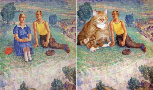 名画に猫15