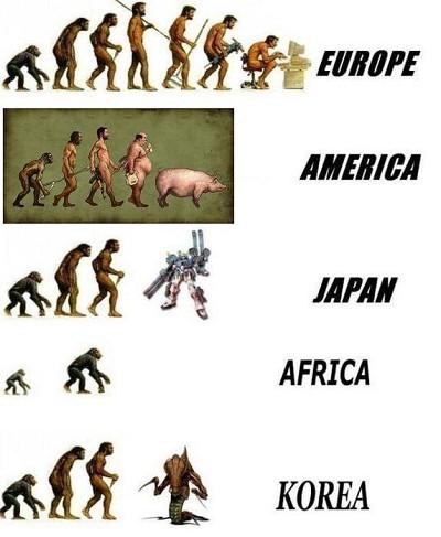 国別の人類の進化