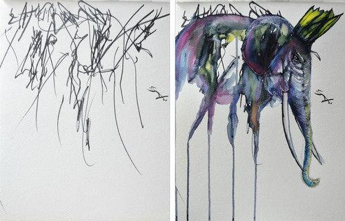 2歳の娘が描いた落書きを母親が水彩画に08