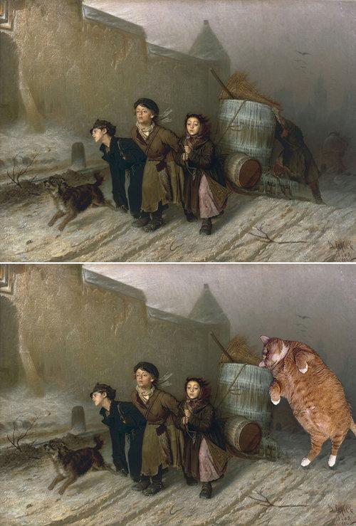名画に猫14