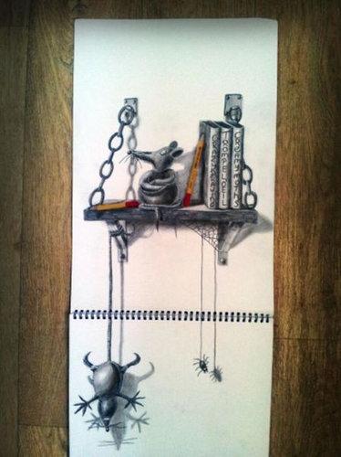 紙に描いた立体アート01