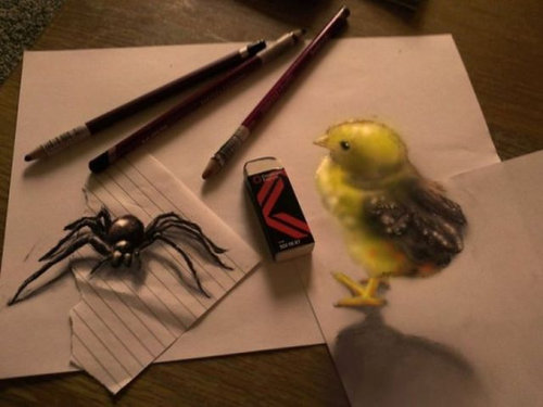 紙に描いた立体アート11