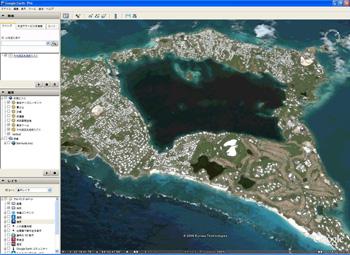 グーグルアース・バミューダ魔のトライアングル海域