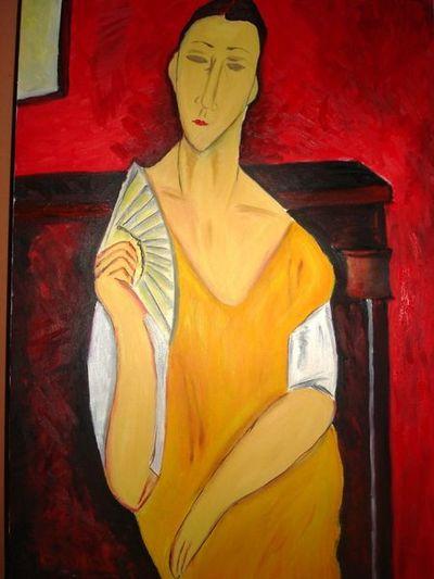 扇子を持った女-アメデオ・モディリアーニ