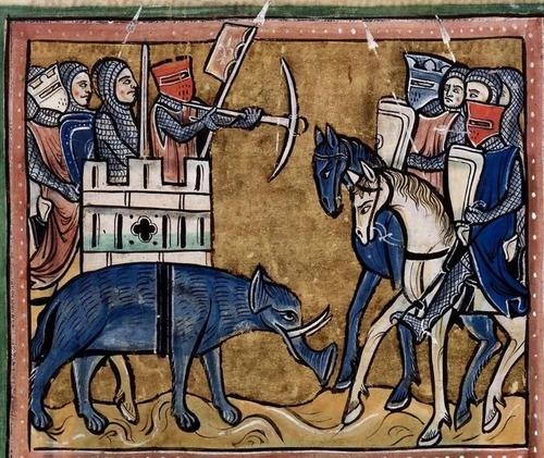 中世の想像で描かれたゾウ09