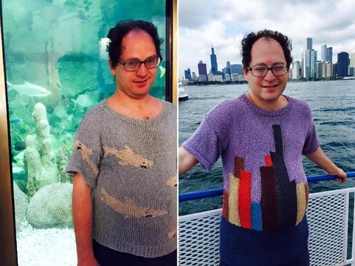 旅行先の景色を編んだセーター00