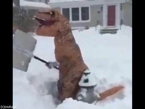 恐竜雪かき06