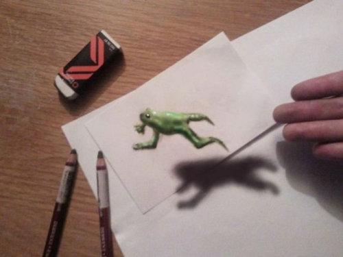 紙に描いた立体アート15