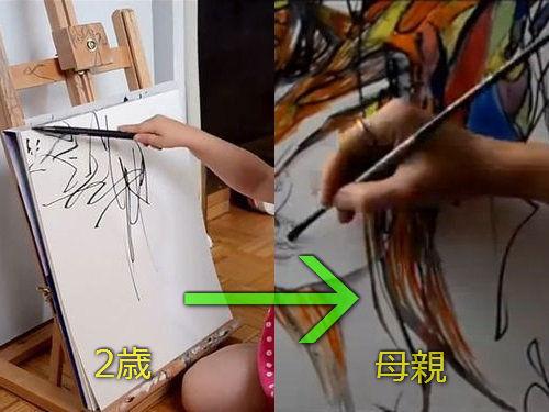 2歳の娘が描いた落書きを母親が水彩画に00