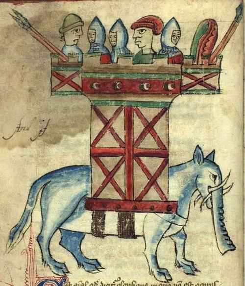 中世の想像で描かれたゾウ05