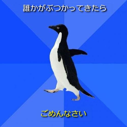 社交性のないペンギン01●誰かがぶつかってきたら ─ ごめんなさい