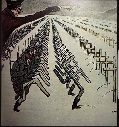 ドイツ兵がロシアの厳冬に死にゆく姿を描いた1944年のポスター01