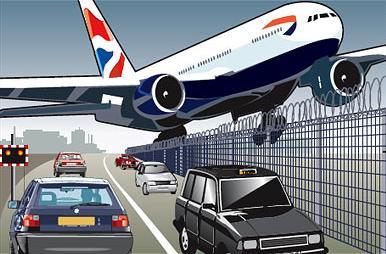 ヒースロー空港で緊急着陸-フェンス拡大