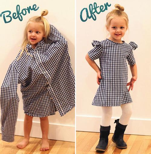 パパの古着を娘のドレスに変身04