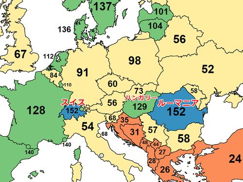 ヨーロッパのインターネットのスピードマップ02
