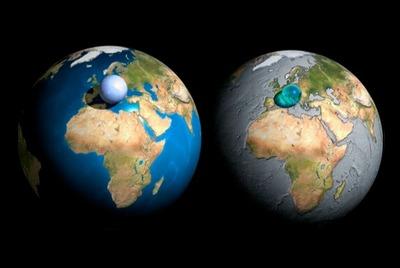 地球上すべての大気や水を集めたものと地球を比べた画像