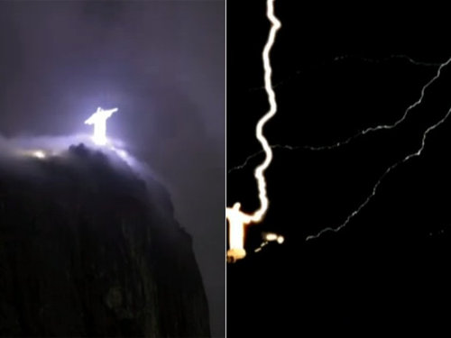リオデジャネイロのキリスト像に落雷03