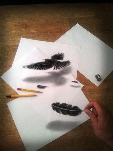 紙に描いた立体アート03