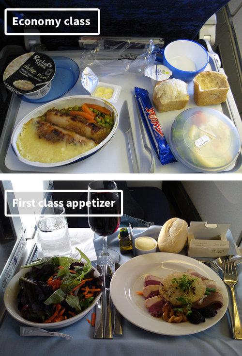 ファーストクラスとエコノミークラスの機内食01