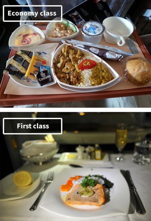 ファーストクラスとエコノミークラスの機内食05