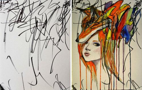 2歳の娘が描いた落書きを母親が水彩画に04
