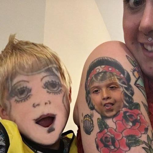 タトゥーと顔交換アプリを使うとホラーになる06