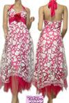 重ねメッシュラメ入花柄フロッキーコサージュ付ホルターロングドレス