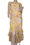 シフォンウエストリボンギャザー花柄斜めフリルワンピース