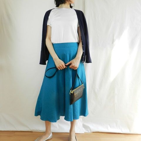 linen sk blue outfit office
