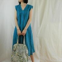 turquoise v dress w bag 2