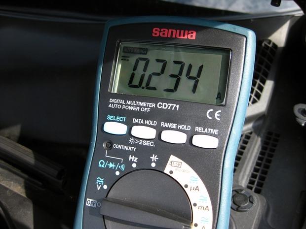 バッテリーの暗電流を計る