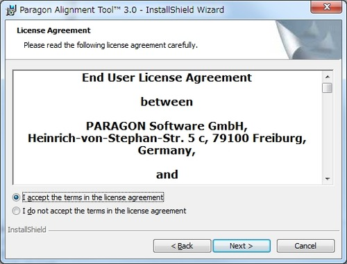 Paragon Alignment Toolのインストール2