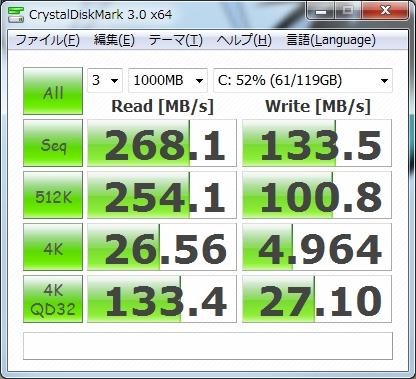 Crucial RealSSD C300 CTFDDAC128MAGのアライメント調整前