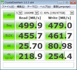 MX100 512GB OSインストール状態