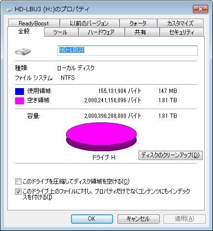 NTFS後の容量