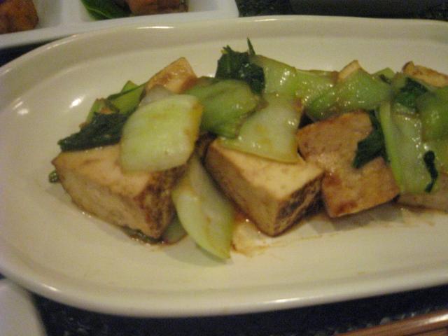 チンゲン菜と焼き豆腐のオイスターいため