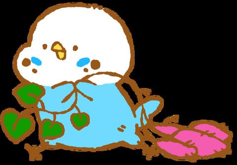 【フリー素材】サツマイモとれたー!セキセイインコ