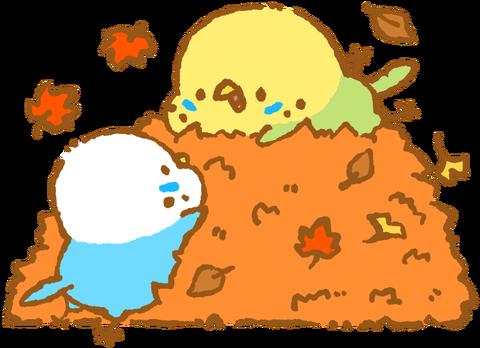 【フリー素材】落ち葉まみれセキセイインコ