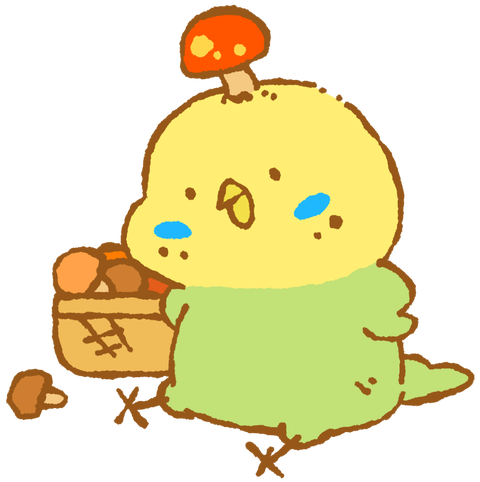 【フリー素材】キノコはえたインコ