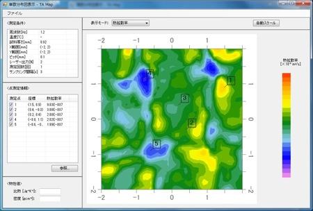 砥石ディスクの熱拡散率マップ