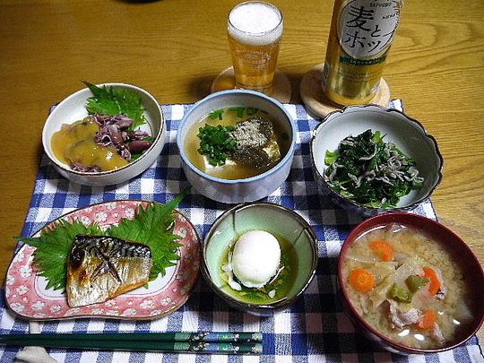 さばの塩焼き・ほたるいかの酢味噌和え・湯豆腐・ほうれん草おひたし・豚汁・温泉たまご・麦とホップ