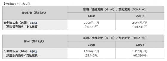 iPad Air第4世代とiPad第8世代のドコモオンラインショップ価格