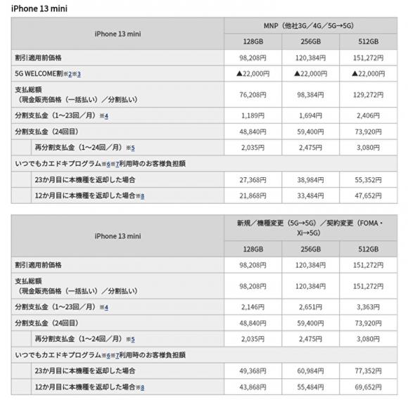 iPhone 13 mini、ドコモオンライン価格